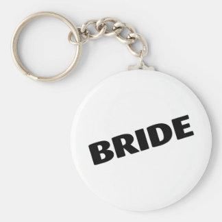 Jeune mariée épousant le noir porte-clé rond