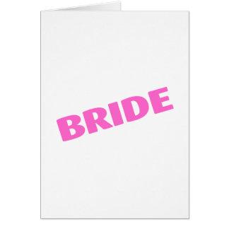 Jeune mariée épousant le rose carte