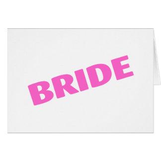 Jeune mariée épousant le rose carte de vœux