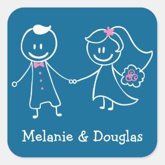 Jeune mariée et autocollants bleus de mariage