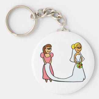 Jeune mariée et domestique de bande dessinée d'hon porte-clés