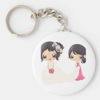 Jeune mariée et domestique d'honneur porte-clé rond