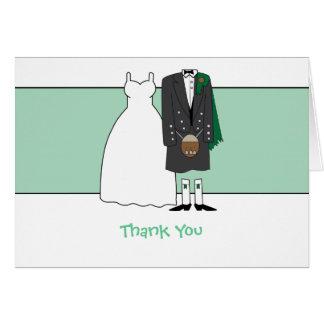 Jeune mariée et marié écossais de mariage de Merci Carte De Vœux