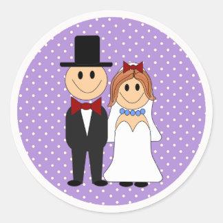 Jeune mariée et marié épousant les autocollants