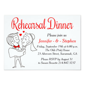 Jeune mariée et marié rouges et blancs de bande carton d'invitation  12,7 cm x 17,78 cm