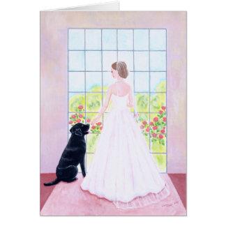 Jeune mariée et sa peinture noire de Labrador Carte De Vœux