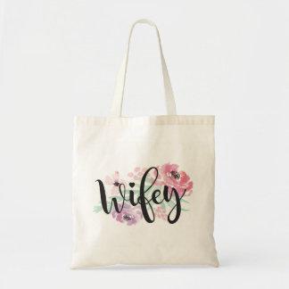 Jeune mariée florale de sac fourre-tout à Wifey à