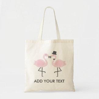 Jeune mariée mignonne de flamant et texte fait sur tote bag