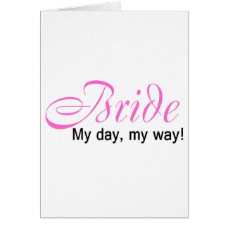 Jeune mariée mon jour ma manière cartes de vœux