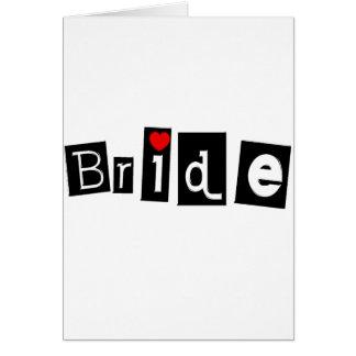 Jeune mariée noir carré cartes de vœux