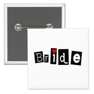 Jeune mariée noir carré pin's