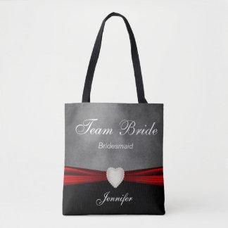Jeune mariée noire, grise et rouge grunge d'équipe sac