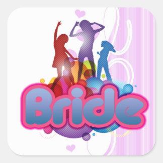 jeune mariée rose bleue de danse à être future Mme Sticker Carré