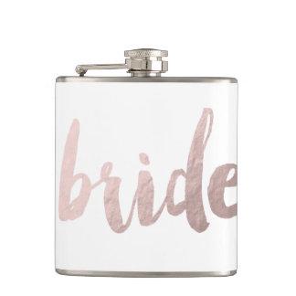 jeune mariée rose moderne de feuille d'or flasques