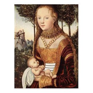 Jeune mère avec l'enfant par Lucas Cranach l'aîné Carte Postale