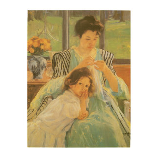 Jeune mère cousant par Mary Cassatt Impressions Sur Bois