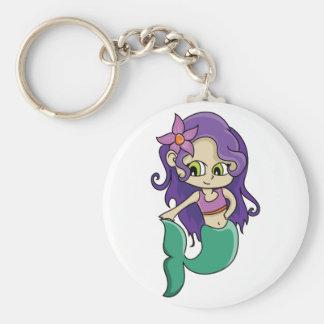 Jeune sirène d'une chevelure pourpre avec de porte-clé rond