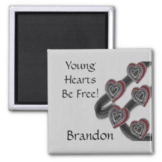 Jeunes coeurs magnet carré