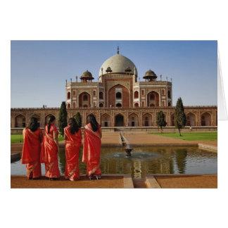 Jeunes dames indiennes et tombe de Humayun, Delhi, Carte De Vœux