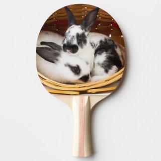 Jeunes lapins de Rex dans le panier 2 de Pâques Raquette Tennis De Table