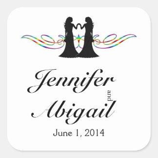 Jeunes mariées d'élégance d'arc-en-ciel épousant sticker carré