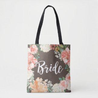 Jeunes mariées florales d'aquarelle de pêche de tote bag