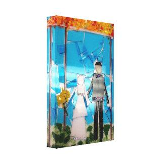 Jeunes mariés de mosaïque de cadeau de mariage toile tendue