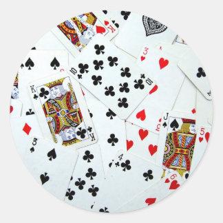 Jeux de carte de jeu autocollant rond