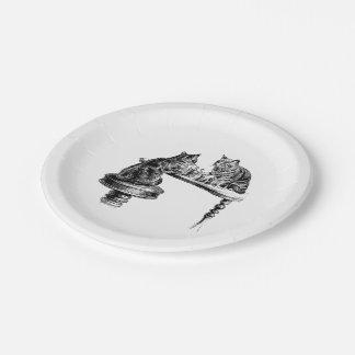 Jeux de société : Deux chats jouant une rencontre Assiettes En Papier