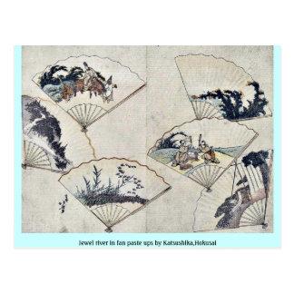 Jewel la rivière en montages de fan par Katsushika Cartes Postales