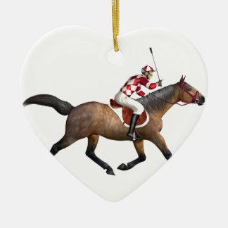 Jockey et cheval de course de chevaux ornement cœur en céramique