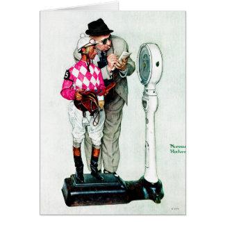 Jockey pesant dedans par Norman Rockwell Cartes De Vœux