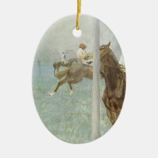 Jockeys devant la course par Edgar Degas Ornement Ovale En Céramique