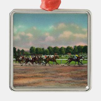 Jockeys finissant la course de cheval à la voie de ornement carré argenté