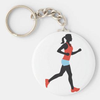 jogging woman porte-clé rond
