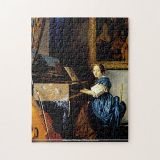 Johannes Vermeer - dame sur le puzzle d'épinette