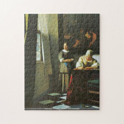 Johannes Vermeer - femme avec le messager Puzzles