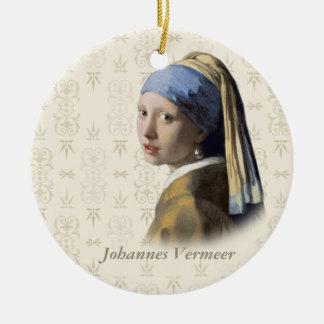Johannes Vermeer : Fille avec la boucle d'oreille Ornement Rond En Céramique