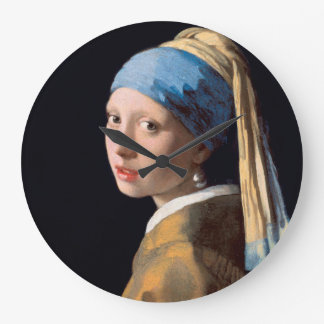JOHANNES VERMEER - Fille avec une boucle d'oreille Grande Horloge Ronde