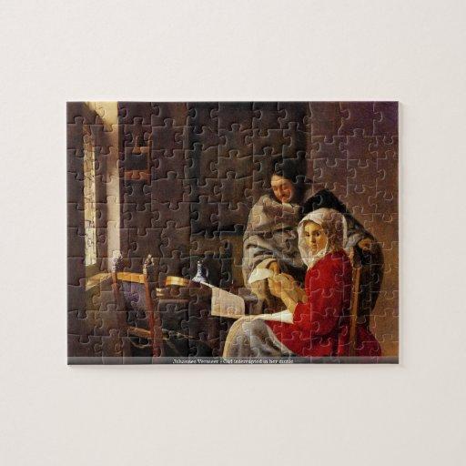 Johannes Vermeer - la fille s'est interrompue dans Puzzle Avec Photo