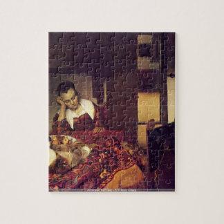 Johannes Vermeer - un puzzle endormi de femme