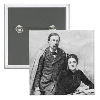 John Addington Symonds et sa fille, 1891 Badge Carré 5 Cm