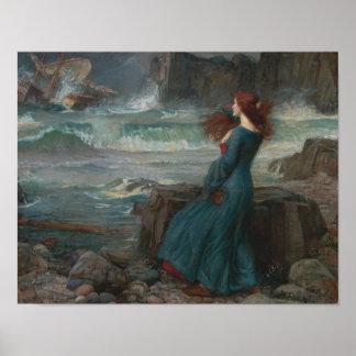 John William Waterhouse - Miranda - la tempête Poster
