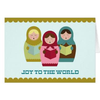 Joie à la carte de Noël du monde avec des matryosh