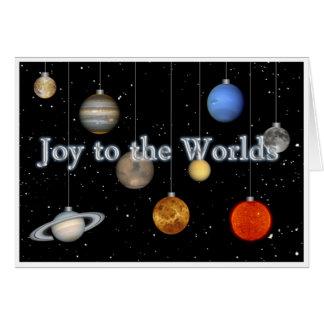 Joie à la carte de voeux des mondes