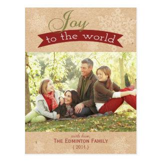 Joie à la carte postale de vacances de Noël du