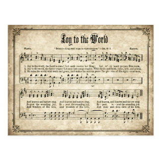 Joie à la carte postale vintage de chant de Noël