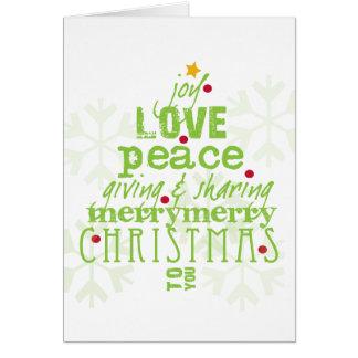 Joie, amour, carte d'arbre de Noël de paix