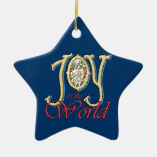 Joie au monde avec la nativité en verre souillé ornement étoile en céramique
