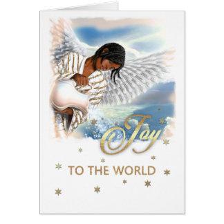 Joie au monde. Cartes de Noël d'ange d'Afro